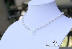 Designer Monogram Necklace w/ White Pearls & Personal Initials on Etsy, $84.00