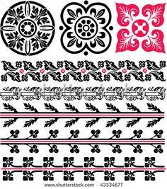 vector monochrome medieval patterns by Elfwilde, via ShutterStock