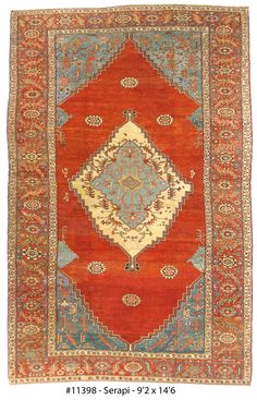 Serapi Antique Rugs:   A bright, expansive quality is expressed in this Serapi Antique Rug with brick red, amber, cream orange, slate blue and dark blue tones.