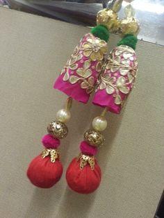 Gota Patti Jewellery, Thread Jewellery, Fabric Jewelry, Saree Tassels Designs, Saree Kuchu Designs, Diy Earrings, Tassel Earrings, Rakhi Making, Handmade Rakhi