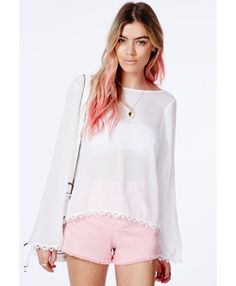 Stefka Crochet Trim Cross Back Blouse - Tops - Shirts and Blouses - Missguided