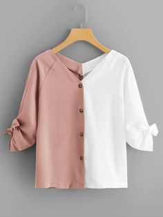 To find out about the Plus Two Tone Tie Cuff Blouse at SHEIN, part of our latest Plus Size Blouses ready to shop online today! Girls Fashion Clothes, Teen Fashion Outfits, Trendy Outfits, Trendy Fashion, Man Clothes, Fashion Styles, Women's Fashion, Blouse Styles, Blouse Designs