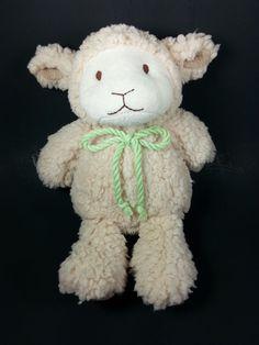 "Animal Adventure Beige Cream Lamb Plush Green Rope 12"" Stuffed Animal Sheep…"