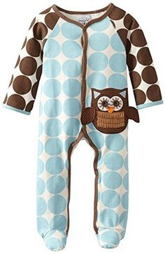 207cacac1d20  MudPie Baby-Boys Newborn Owl Footed  OnePiece