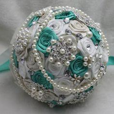 Brooch Wedding Bouquets for Green   Handmade-Green-White-Silk-Roses-Artifical-Crystal-Brooch-Wedding ...