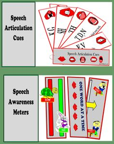 Easy to use, child friendly, visual cues designed to support students with speech and articulation difficulties. http://www.teacherspayteachers.com/Product/Visual-Cues-for-Speech-and-Articulation-305261