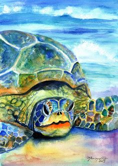Kauai Sea Turtle - 5 x 7 Giclee art print - Hawaiian honu print - Whimsical art for kids - children wall art - tropical sea life art print Sea Turtle Painting, Sea Turtle Art, Sea Turtles, Turtle Shells, Beach Scene Painting, Beach Paintings, Ink Painting, Tropical Paintings, Kauai