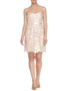 T9RJD Marchesa Notte Strapless Belted Floral-Lace Cocktail Dress, Blush