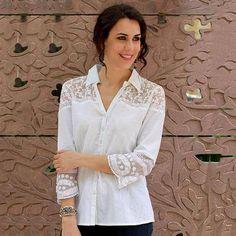 99ad84d442c Cotton shirt, 'Flirty Foliage' - Lace Trim White Cotton Shirt Neha Sharma  designs