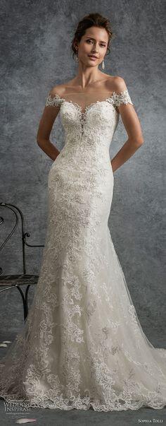 sophia tolli fall 2017 bridal off the shoulder sweetheart neckline full embellishment drop waist elegant a line wedding dress sheer button back medium train (14) mv