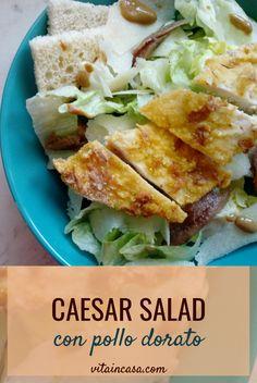 La Caesar salad con pollo dorato è smart perché il pollo è bello dorato e croccante, ma non è fritto, bensì è cotto al forno! Caesar Salad, Sandwiches, Cooking, Food, Home, Chicken, Easy Meals, Kitchen, Essen