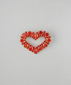 Gold & Red Stud Heart Brooch