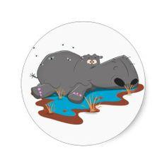 Cute cartoon Hippo wallowing in mud