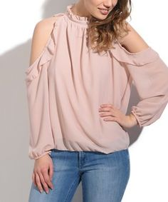 Light Pink Ruffle Cold-Shoulder Top