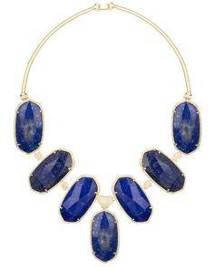 Kendra Scott Pave Oval Bib Necklace in Lapis