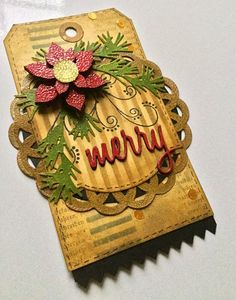 """Studio 490: mixed media """"merry"""" tag... Tutorial on her website."""