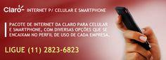 Contrate o pacote de internet da Claro para celular e smartphone, com vários planos, um na medida certa para a sua empresa, além de reduzir os custos com a parte de telefonia móvel. Informações ligue (11) 2823-6823  #claroempresas #claro