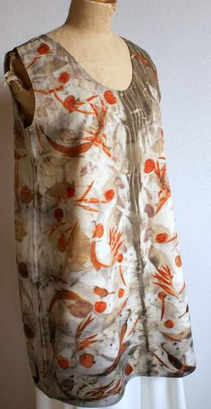 Pinafore in flannel dyed with ecoprint by Lalazooartelier on Etsy, €75.00