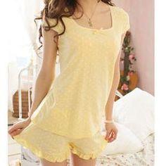 yellow pajamas women's   NEW-Women-Ladies-Cute-Adorable-Yellow-Polka-Dots-Cotton-Pajamas-Set-SZ ...
