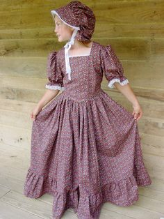 Handmade Historical Costumes Pioneer Girl American Colonial Girl -Brown Prairie Dress- Child sizes up to 14 on Etsy, $79.99