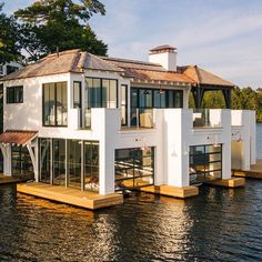 The Boathouse: a new definition to lakefront living! Houseboat Living, Lakefront Property, Floating House, Rustic Design, Future House, Modern Farmhouse, Beautiful Homes, House Plans, Construction