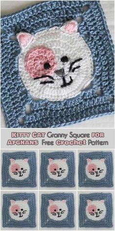 Kitty Cat Granny Square for Afghans [Free Crochet Pattern] Follow us for ONLY FREE crocheting patterns for Amigurumi, Toys, Afghans and many more!