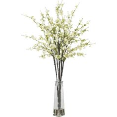 Nearly Natural Cherry Blossoms Silk Flower Arrangement with Vase - White 38 in $58.99