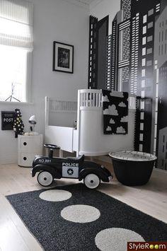 Habitación bebé en blanco y negro