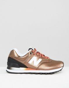 New Balance | Zapatillas de deporte metalizadas en color bronce 574 de New Balance