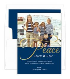 Navy Gold Foil Peace Holiday Photo Cards