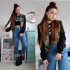 Get this look: http://lb.nu/look/7067476  More looks by Amelia  Breading: http://lb.nu/heartshapedrose  Items in this look:  Style London Tapestry Jacket   #casual #edgy #grunge