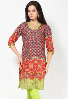 3/4Th Sleeve Printed Blue  Kurta