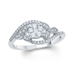 1/3 CT. T.W. Composite Diamond Celtic Trinity Knot Bypass Engagement Ring in 10K White Gold