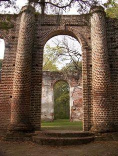 I have been here !!! Its so beautiful. Sheldon Church Ruins, South Carolina such a beautiful place. Near Hunting Island.