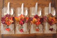 http://www.phomz.com/category/Utensil-Holder/ Fall Burlap Silverware Holders Leaves & Flowers Set by CrafTeaCafe, $18.00
