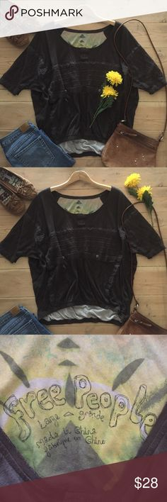| Free People Oversized Top Super soft, comfy oversized chocolate short sleeve top.  Features crocheted accents and oversized pocket.  So cute with shorts or jeans.   100% cotton.  In excellent, gently used condition. Free People Tops