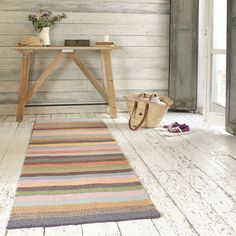 TUPPENCE RUNNER. There's only one thing better than a herringbone rug and that's a herringbone rug with a bit of colour. The runner version of this beauty is like a rainbow-y slice of heaven. #BounjourBlighty #runner #stripes #colours