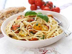 Spagetti med småtomater og urter
