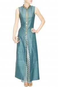 Teal star embroidered anarkali with beige star print pants