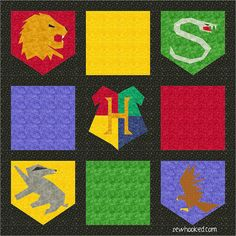 Updated paper pieced Hogwarts House Crests, free Harry Potter inspired patterns by Jennifer Ofenstein (sewhooked.com) on Fandom In Stitches (fandominstitches.com) #eq7 #harrypotter #quilt