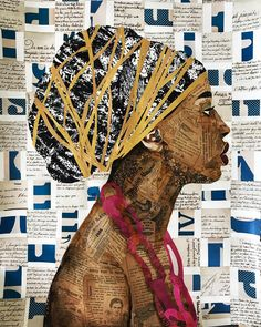 New work in the works for my upcoming show Oct collage Collage Kunst, Paper Collage Art, Collage Art Mixed Media, Paper Art, Newspaper Collage, Paper Mosaic, Collage Portrait, Ap Studio Art, Afro Art