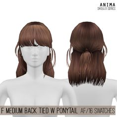Female Medium Back Tied w Ponytail Hair for The Sims 4 by Anima - Modern The Sims 4 Pc, Sims 4 Teen, My Sims, Sims Cc, Los Sims 4 Mods, Sims 4 Game Mods, Sims 4 Curly Hair, Sims Hair, Teen Girl Hairstyles