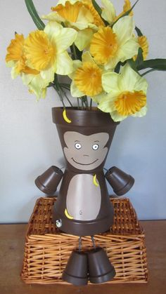 Your place to buy and sell all things handmade Flower Pot Art, Clay Flower Pots, Flower Pot Crafts, Clay Pot Projects, Clay Pot Crafts, Diy Clay, Flower Pot People, Clay Pot People, Painted Clay Pots