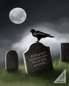 Painting of a Raven Perched on a Tombstone with a Funny Haiku Epitaph