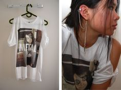 (studs and pearls):diy: Cut Out Shoulder T-Shirt. very cool blog btw