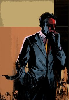 The Con Man by Jackaloope in Film Noir: Collection of Dark Digital Artworks Pulp Fiction Art, Pulp Art, Detective, Art Noir, Black And White Comics, Up Book, Comic Styles, The Villain, Illustrations