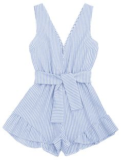 unique Plunging Neck Belted Striped Romper - BLUE STRIPE XL Mobile