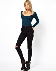 Supersoft High Waisted Black Ultra Skinny Jeans With Ripped Knee Ripped Knees, Ripped Skinny Jeans, High Waisted Black Jeans, High Waist Jeans, Asos Petite, Dope Fashion, Black Skinnies, What To Wear, Cute Outfits