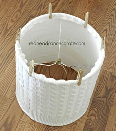 Winter Beach Lodge Living Room Part 1 (Old Sweater Lamp Shade) - Redhead Can DecorateRedhead Can Decorate