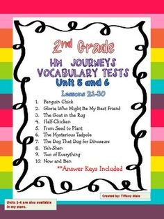 HM Journeys Vocabulary Tests for 2nd grade stories. The questions are based on the exact definitions from the word cards.Units 5 and 6Lessons 21-301. Penguin Chick2. Gloria Who Might Be My Best Friend3. The Goat in the Rug4. Half-Chicken5. From Seed to Plant6.